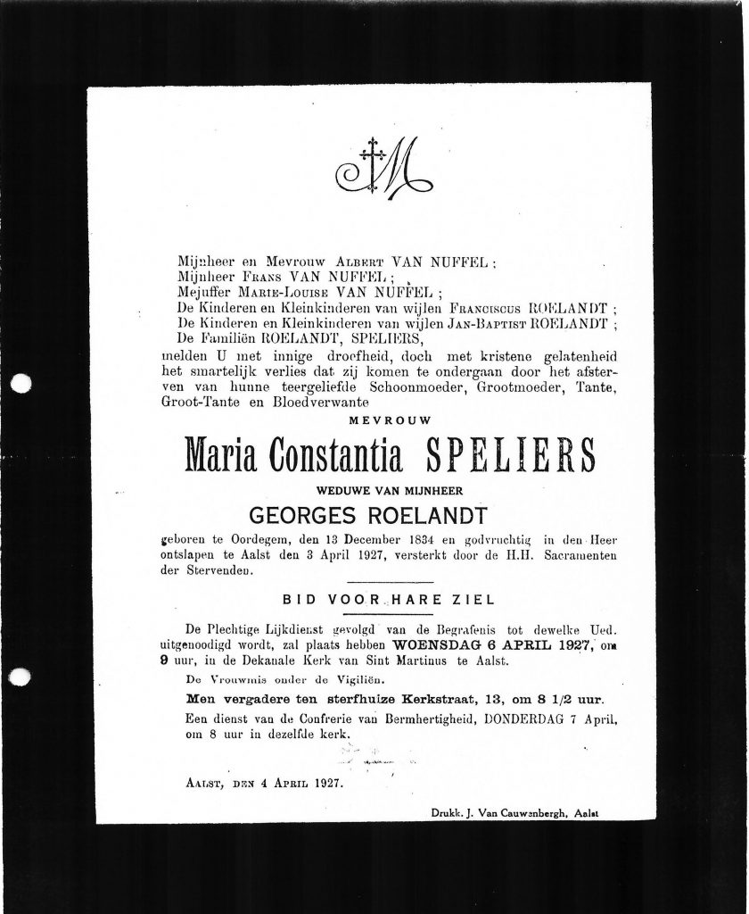 Doodsbrief Maria Constantia Speliers