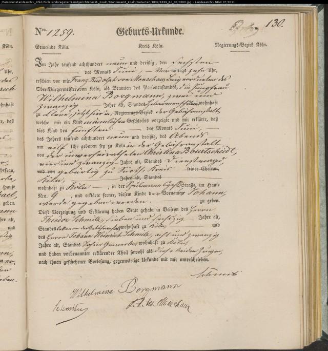 Geboorte Johann Bourtscheidt (1839)