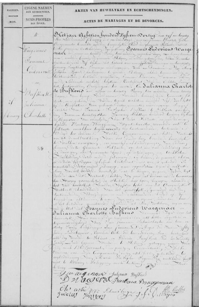 Huwel Joannes Ludovicus Waegenaer  Juliana Charlotte Bufkens