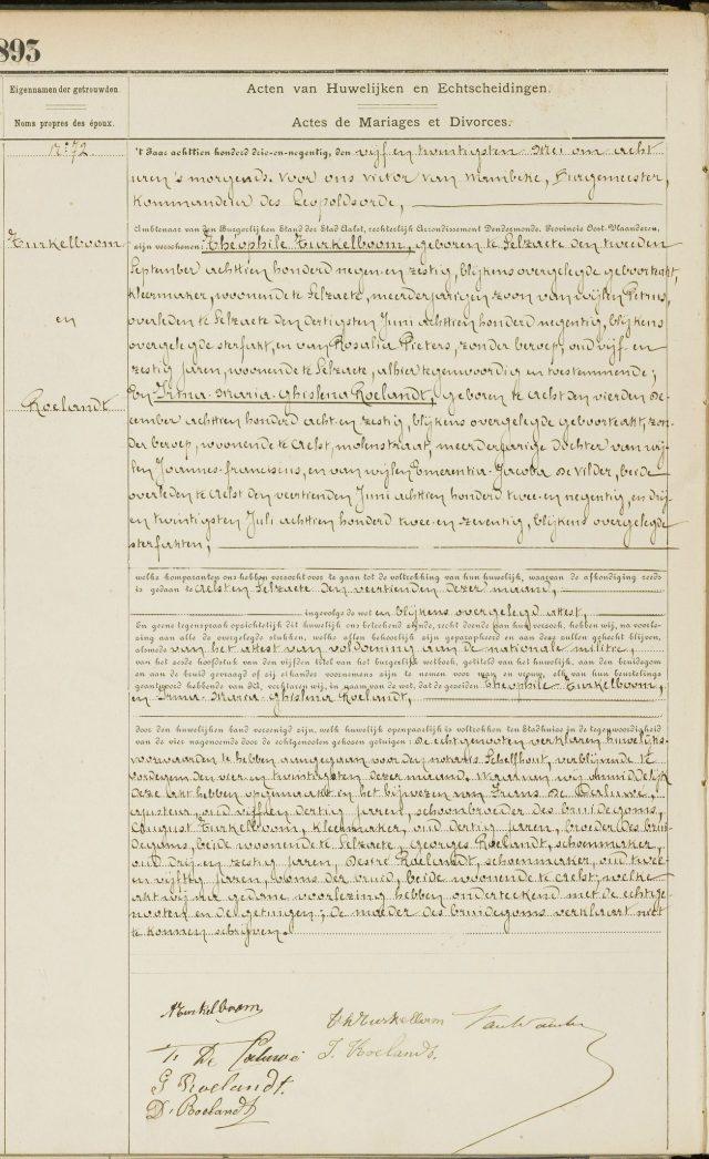 Huwel. Theophile Turkelboom & Irma Maria Ghislena Roelandt (1893)