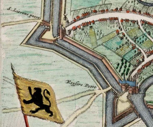 Sint-Lievenspoort_en_Keizerpoort,_Ghent,_Belgium_-_Map_1649