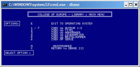 College of Europe Library Main Menu