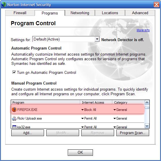 Screenshot van Norton Internet Security, alwaar ik Firefox gewoon geblokkeerd had. Tsss!